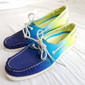 Sperry Topsider Boat Shoes Blue Yellow Ombre sz 9